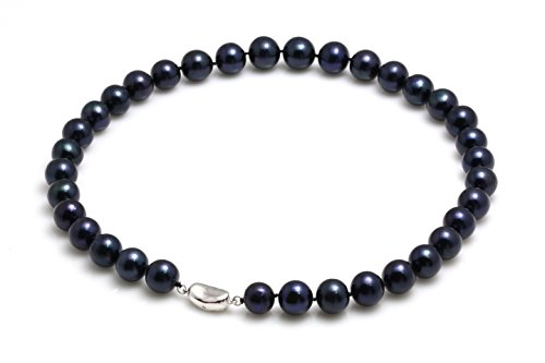 Schmuckwilli Perlenkette Schwarz Süßwasserperlen Zuchtperlen Kette Collier Halskette 45cm 11.5-13.5mm dsk0018-45