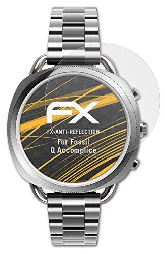 atFoliX Panzerfolie kompatibel mit Fossil Q Accomplice Schutzfolie, entspiegelnde & stoßdämpfende FX Folie (3X)