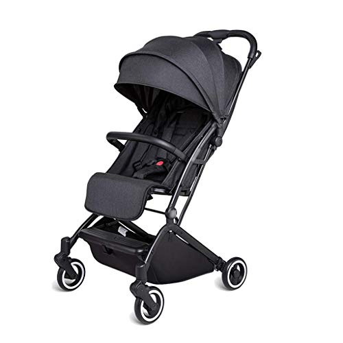 WJY Cart,Dining Car Medical Cart Diner Baby Stroller Light and Simple Baby Child Folding Portable Ultra Light Small Can Sit Reclining Umbrella Baby Cart,Black