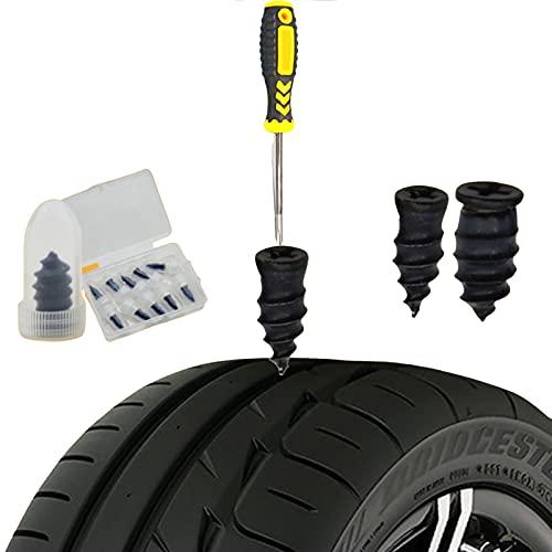 Clavos de goma para reparación de neumáticos (20 PCS), clavos blandos autorreparadores para neumáticos de moto de vacío, para coche, autobús y neumáticos agrícolas (destornillador adicional) (pequeño)