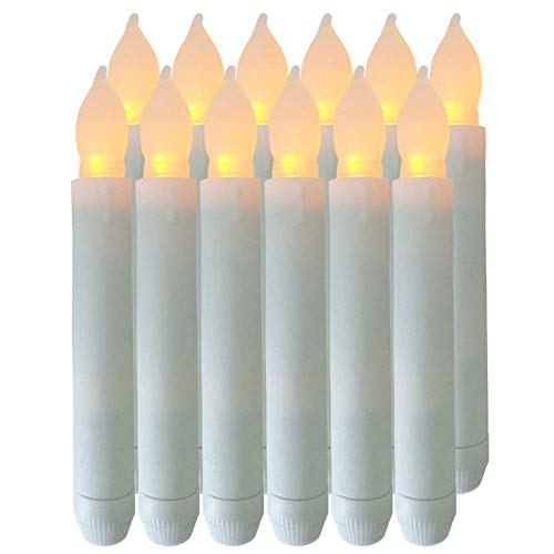 Shellbay Flameless Candles, Battery Operated Candles 6.5'x0.8' Set of 12 Flickering Taper Candles for Wedding Party Halloween Thanksgiving -Batteries Not Included