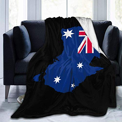 AEMAPE Manta de Lana con Mapa y Bandera Australiana, Manta Liviana, súper Suave y acogedora, Manta cálida para la Sala de Estar/Dormitorio, Todas Las Estaciones, 50 x 60 Pulgadas