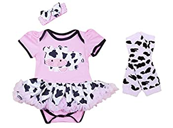 Baby Rae Pink Cow Clothing 3 in 1 Set  Cow Romper + Cow Head Band + Legging Socks  XL Romper  12-18 Months