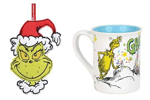 How the Grinch Stole Christmas Coffee Mug and Felt Grinch Ornament, Bundle Of 2