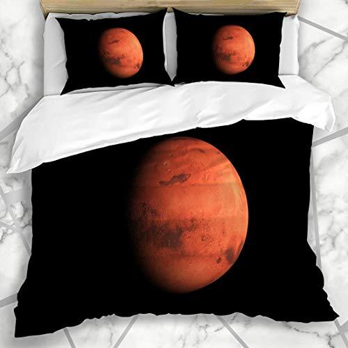 Soefipok Conjuntos de Fundas nórdicas Espacio Rojo Misión Render Planeta Marte en Ciencia Astrología Atmósfera Sistema Cosmos Negro Ropa de Microfibra con 2 Fundas de Almohada