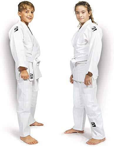 Green Hill Judogi Junior 350gr/m2 Kimono Divisa Judo Jiu Jitsu, Unisex Bambini, Bianco, 130