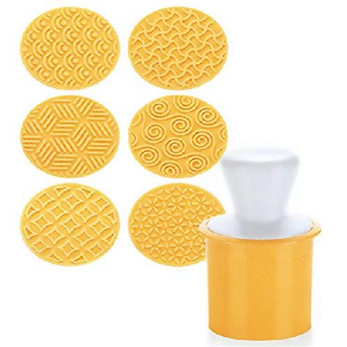 Siliconen Biscuit Stempel Set Cookie Press 6 Stks Koekje Snijder Set Gebak Mold DIY Bakken Decoratie Gereedschap Keuken Gadgets Accessoires benodigdheden (Geel) Geel