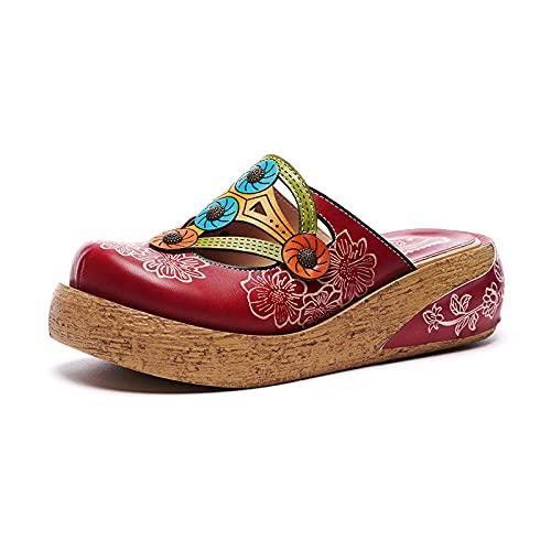 WUHUI para Hombre Zapatillas de Estar por Casa de, Pantuflas de Plataforma en Piel auténtica, Sandalias de cuña Florales-Red_39, Sandalias y Chanclas De Playa para Hombre
