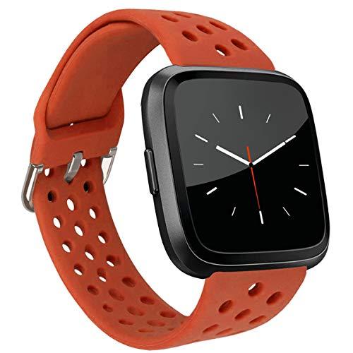MroTech Compatible con Fitbit Versa Correa/Fitbit Versa Lite Edition Correa/Fitbit Versa 2 Correa, Pulsera de Repuesto de Silicona para Fit bit Versa/Versa2 Smartwatch Banda para Mujer Hombre,Naranja