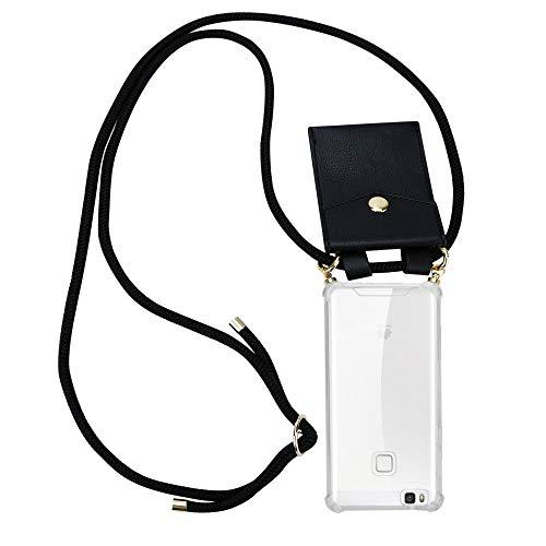 Cadorabo Handy Kette für Huawei P9 LITE in SCHWARZ – Silikon Necklace Umhänge Hülle mit Gold Ringen, Kordel Band Schnur und abnehmbarem Etui – Schutzhülle