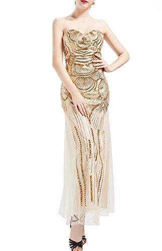 ArtiDeco 20er Jahre Flapper Kleid Damen Cocktailkleid 1920s Vintage Abendkleid Maxi Lang Bustier Damen Gatsby Kostüm Kleid (Beige, L)