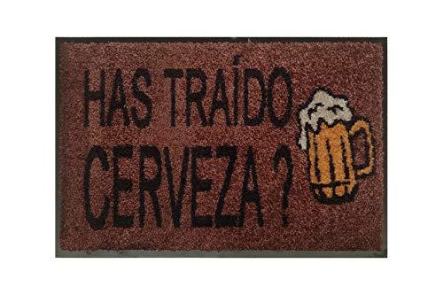 Felpudo PASO Original HAS TRAÍDO Cerveza? Alfombra Divertida para Entrada de casa 40x60 Antideslizante (Marrón)