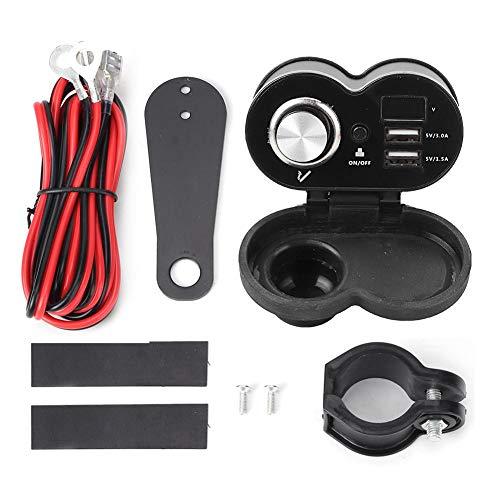 Encendedor de cigarrillos de la motocicleta Cargador dual USB impermeable Manillar Mount 12V para coche barco marino motocicleta scooter (negro)
