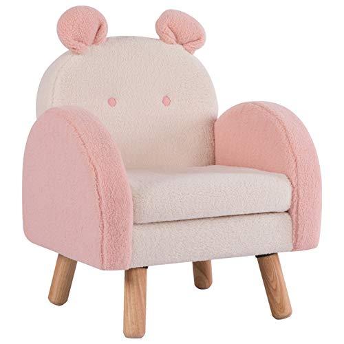 XLSQW Chaise de canapé pour Enfants Canapé de Fauteuil pour Enfants Simple avec Jambes en Bois Imitation Tissu en Cachemire Mignon Dossier Chaise épaissie Sponge, pour garçons et Filles Cadeaux,Rose