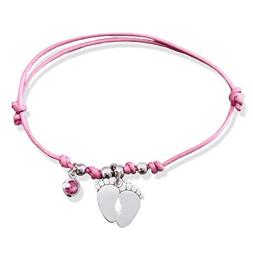 Pulsera de cordón encerado con colgante en forma de pies de bebé de plata 925 y cristal rosa Rosa