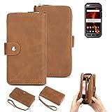 K-S-Trade Handy-Schutz-Hülle Für Caterpillar Cat S41 Dual-SIM Portemonnee Tasche Wallet-Hülle Bookstyle-Etui Braun (1x)