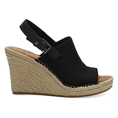 TOMS Women's, Monica Wedge Espadrille Black 10 M