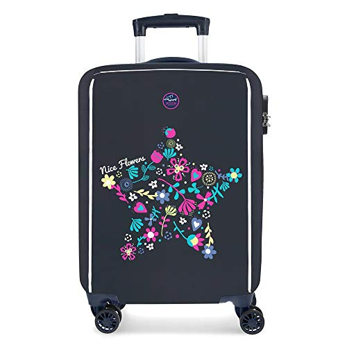 Enso Nice Flowers Multicoloured Cabin Suitcase 37 x 55 x 20 cm Rigid ABS Combination Lock 33 Litre 2.8 kg 4 Double Wheels Hand Luggage