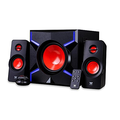 Woxter Big Bass 260 FX - Altavoces Gaming 2.1 de 150W (Entrada Óptica, LEDS, Control de Volumen con cable y doble conexión, Incluye Mando a Distancia ), color negro y rojo