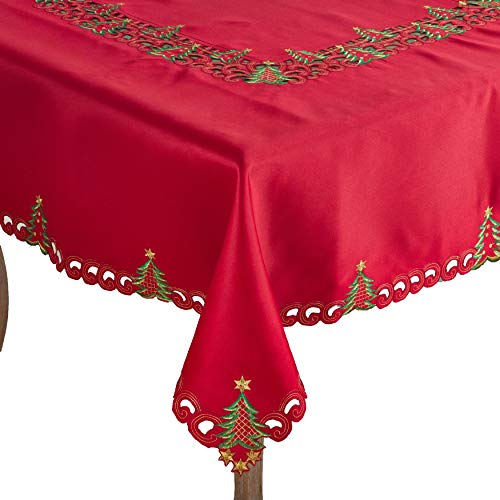 "Fennco Styles Pandora Collection Holiday Christmas Tree Tablecloth and Cloth Napkin 18"" Square (Red, 65""x120"" Tablecloth+12pcs Napkins)"