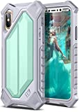 ELV Armor Case for iPhone X Case High Impact Resistant Rugged Armor Hybrid Full Body Protective Case Cover for Apple iPhone X with Magnetic Car Mount [Wireless Charging Not Compatible] (Mint/Grey)
