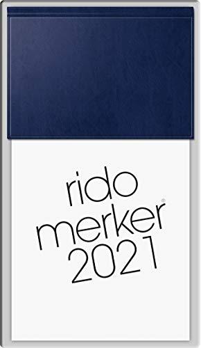 rido/idé 7035003381 Tischkalender Merker, 1 Seite = 1 Tag, 108 x 201 mm, Miradur-Einband dunkelblau, Kalendarium 2021