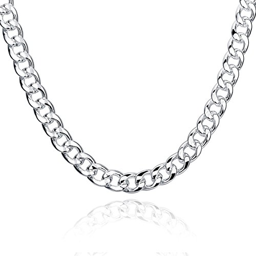 Collar de hombre - Joyería cadena de hombres, Chapado en plata, Grueso ancho 10mm, Eslabones longitud 50 cm 60 cm
