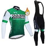 Maillot de Ciclismo para Hombre de Manga Larga de Forro Polar para Bicicleta de montaña de Carretera MTB Camisas de Invierno Deportes al Aire Libre Ciclismo de Carreras Ropa para Hombre