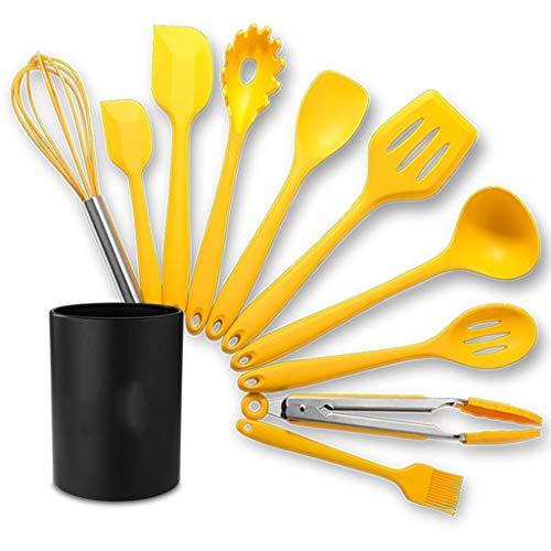 JYDQM 10pc Amarillo Silicona Utensilios de Cocina Utensilios de Cocina Conjunto de Cocina Resistente al Calor Utensilios de cocción Antiadherente con Caja de Almacenamiento
