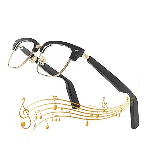 FRIBLSKEL Gafas Inteligentes con Auriculares Abiertos Gafas Sol Bluetooth con Audio,Carga Magnética/IP67 Prueba Agua/Hombres Mujeres Universal para Llamadas Voz, Escuchar Música,Negro