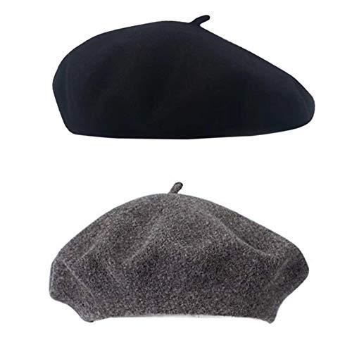 SIEBENEINSY Klassische Baskenmützen Damen Wollmütze französischer Hut Damenmütze Baske Beret Cap 2pcs Beanie Maler Kappe, Farbe: Schwarz&Grau, Size One size