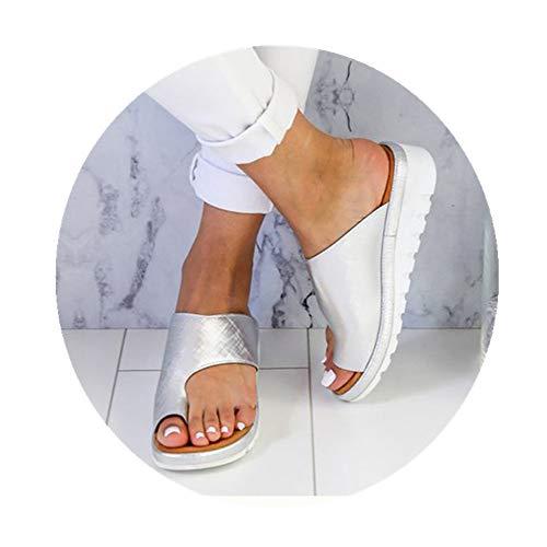 Sandalias cómodas con plataforma, de piel sintética, con suela plana y pies...