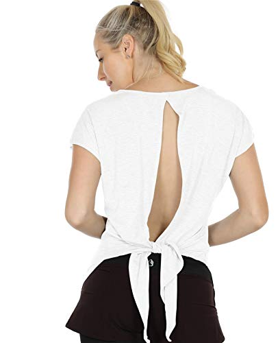icyzone Camiseta de manga corta para mujer, con espalda descubierta, para deporte, yoga, fitness, fitness, informal, holgada, Blanco, M