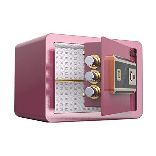 Cajas fuertes Cajas De Seguridad Caja Fuerte Para El Hogar Pequeña Contraseña Huella Digital Desbloqueo Doble Alarma De Acero Gabinete De Seguridad De 3 Colores ( Color : Pink , Size : 35*25*25cm )