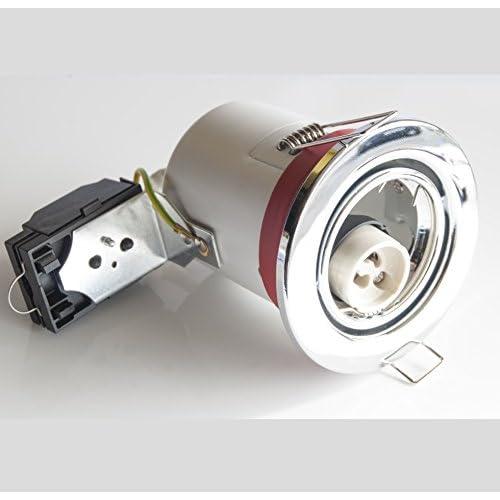 LEDHIVE Adjustable Premium GU10 Downlight - Chrome Steel finish - Fire Rated