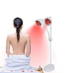 LUCKILYJIE Infrared Light Therapy, 275W Double Head Floor Stand Infrared Light Therapy, Infrared Massage Lamp for Improve Sleep Blood Circulation Pain Relief