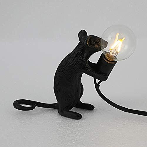 Lámpara de mesa, luz de lectura, lámpara de noche, forma de ratón, lámpara de escritorio de resina, lámpara de noche, luz, decoración de habitación
