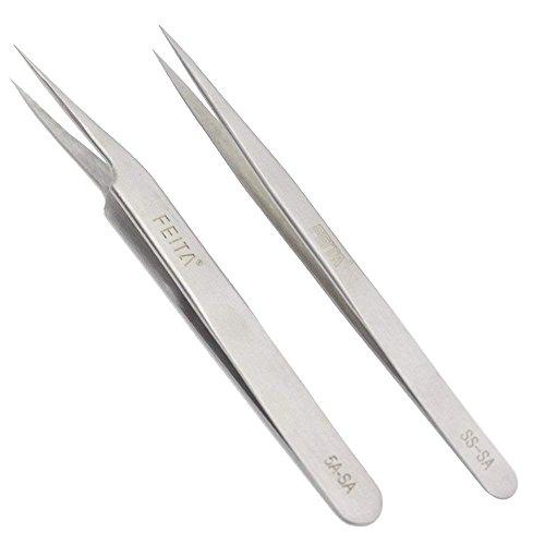 FEITA Pinzas de precisión de acero inoxidable recta y punta inclinada mejores pinzas profesionales para extensión de pestañas, manualidades, joyas, cejas y depilación encarnada (SS & 5A-SA 2 piezas)