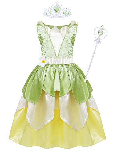 Jurebecia Princess Costume for Little Girls Fancy Birthday Party Dress up Role Play Dresses Luxury Outfit 1-12 Years (Tiana luxury dress+crown+wand, 6(5-6Years))