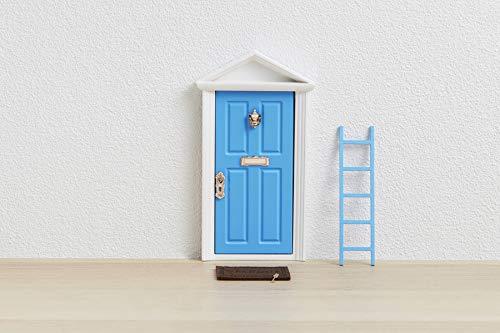 🧚�♀� Die Zahnfee : Magische Tür blau + Treppen + Schlüssel + Fußmatte + Glückwunschkarte + Ausmalbild + dekorativer Hintergrund für die Tür (klebend)