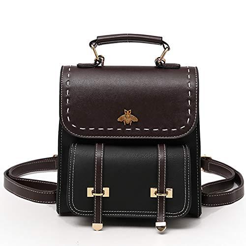 SOOKi Little Bee Vintage Women Backpack Simple Style Backpack College Backpack Bag Purse Stylish Crossbodybag-Black
