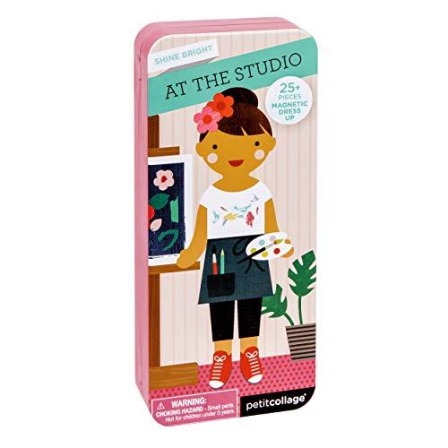 Petit Collage 8754461 Magnetspiel, Dress up Künstlerin, magnetisches Anziehpuppen-Spielset, für Kinder ab 4 Jahren, Rose