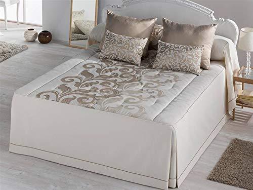 LANOVENANUBE - Colcha edredón DONATELLA cama 150 - Color Oro - Con volante especial 60cm