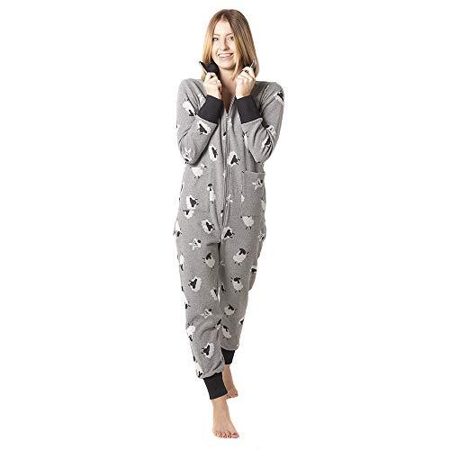 PIGIAMA Sweet Sheep Pijama de una Pieza con Cremallera Delantera y Trasera, Gris, M para Mujer