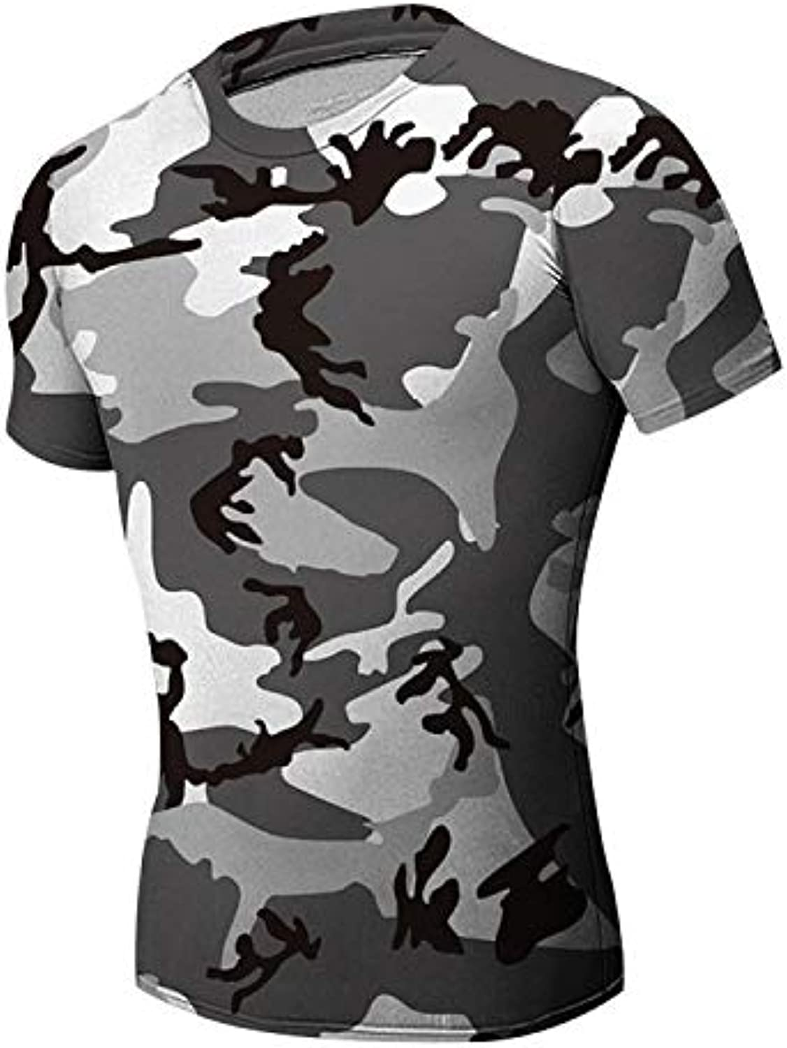 Anddod Men Base Layer Camouflage T Shirt Fitness Tights Quick Dry Clothing Male - S Grün