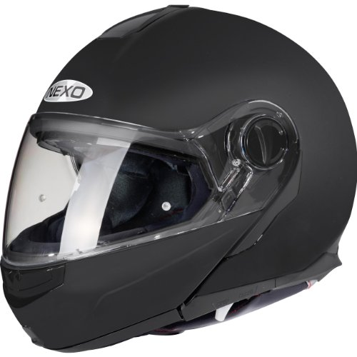 Nexo Klapphelm Motorradhelm Helm Motorrad Mopedhelm Touring III Mattschwarz XS, Unisex, Tourer, Ganzjährig, Thermoplast, matt schwarz