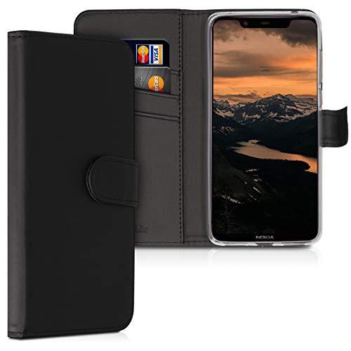 kwmobile Wallet Hülle kompatibel mit Nokia 8.1 (2018) / X7 - Hülle Kunstleder mit Kartenfächern Stand in Schwarz