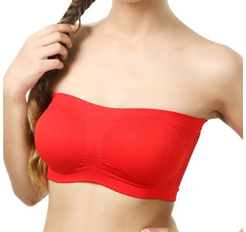 Inner Style Women's Cotton Lycra Bralette Bra Non Padded Non-Wired Strapless Tube Bra Stretchable Bra (Red, Free Size) - Pack of 3