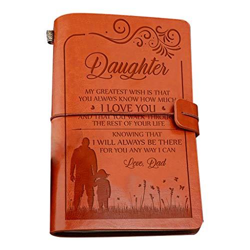 yhdcc44 Cuaderno de cuero de tapa dura, cuaderno de diario, cuenta de mano a mi hija, bloc de notas, papelería, suministros escolares