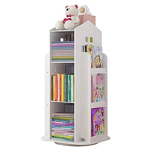 oxskk Enfants Étagère,Rotation à 360 Degrés Bibliothèque Support De Stockage,Bois Rack De Livres Polyvalente...